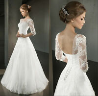 New Stock White/Ivory Appliques Half Sleeve Wedding Dress Bridal Gown Size 4-18
