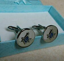 Premium Masonic Cufflinks Silver Blue High Polished