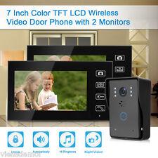 "KIT WIRELESS VIDEOCITOFONO IR TELECAMERA 2 MONITOR 7"" LCD COLORI TOUCH SCREEN IT"