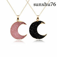 Reiki Pendant Women Necklace Gmestone Moon Gold Druzy Chain