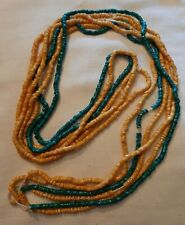 Antique Native American Zuni Maize Corn Heishi Trade Beaded Necklace Turquoise