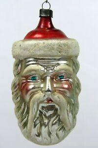 VTG Antique German Mercury Glass Mica SANTA HEAD Christmas Ornament