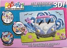 COOL CREATE POP ART 3D PICTURES - VW CAMPER, CUPCAKE & BUTTERFLY BY FLAIR - NEW
