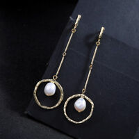 Earrings Creole Golden Long Circle Pearl of The Culture White Retro AA31
