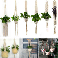 Braided Macrame Plant Hanger Basket Flower Pot Holder Planter Hanging Hemp Rope