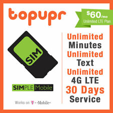 1 2 3 MONTH SIMPLE MOBILE SIM Card $60 PLAN 90 Days Unlmited 4GLTE +15GB Hotspot