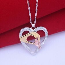 Plated 1pc Rhinestone Jewelry Pendant Mother and Child Hand in Hand Necklace