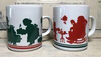 Lot of 2 Vintage Mr. Mrs. Santa Claus Red Green Mugs Avon 1984