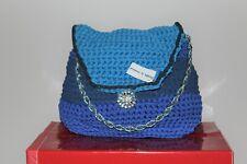 bdfd713323 Borsa donna realizzata a mano con fettuccia in lycra blu/oltremare/azzurra