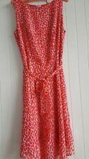 European designer, red and white chiffon style dress - Size 12.