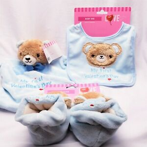 Baby Boy My First Valentines Day Bib Booties & Lovey Rattle Plush Bear