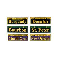 "6 MARDI GRAS Fat Tuesday Party Decor STREET SIGN CUTOUTS Decorations 4"" x 12"""