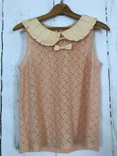 Freeway Womens Small Peach Lace Top Ruffles Bows Shabby Chic Peter Pan Collar