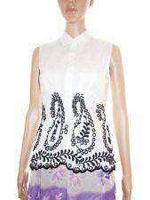 MARELLA MAX MARA Women's Embroidery Vtg Retro Cotton Sleeveless Blouse sz 12 B22