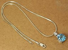 "10K White Gold & Blue Topaz Pendant with 18"" Sterling Silver Chain Necklace"
