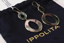 IPPOLITA 18K YELLOW GOLD w/ BLACK MOTHER OF PEARL SHELL DANGLE OVAL EARRINGS