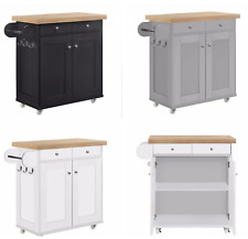 Solid Chunky Portable Kitchen Storage Island Unit with Wheels - Grey Black White