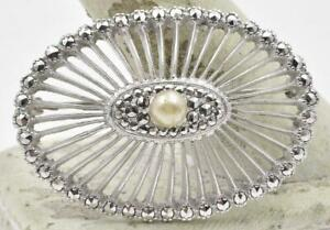Vintage Sterling Silver 925 Faux Pearl & Marcasite ladies Oval Pin Brooch 1960's