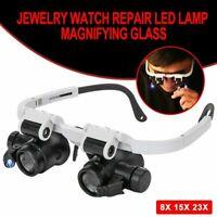 8X 15X 23X Stirnlupe Kopflupe Lupenbrille mit Licht Lupe Brillenlupe Leuchtlupe