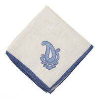 NWT RODA Ivory and Blue Wool-Silk Pocket Square with Single Paisley