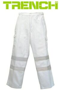 3 Pairs - Cotton Drill Cargo Pants With Reflective Tape - White