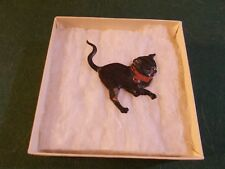 LATE 1800S EARLY 1900S DRESSDEN BLACK CAT VERY SMALL ONLY ONE SIDED RED RIBBON