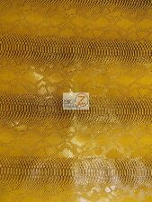 VIPER SOPYTHANA EMBOSSED SNAKE SKIN VINYL LEATHER FABRIC - Glossy Mamba Gold -