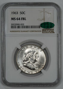 1963 FRANKLIN HALF DOLLAR 50C NGC & CAC MS 64 FBL UNC - FULL BELL LINES (002)