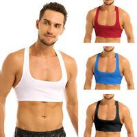 Men's Sleeveless Y Back Muscle Half Tank Top Vest Tee T-Shirts Crop Tops Fitness