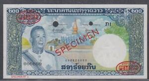 Laos Lao 200 Kip Specimen Banknote P-13s ND 1963 Choice UNC
