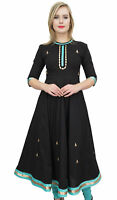 Bimba Women's Designer Flared Anarkali Dress Black Ethnic Kurta Kurti Tunic