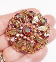 Vintage Fucshia Aurora Borealis Rhinestones Goldtone Leaves Filigree Brooch Pin