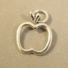 .925 Sterling Silver APPLE OUTLINE CHARM Pendant Food Fruit Open NEW 925 KT85