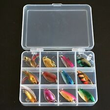 12Pcs Trout Bass Sequin Spoon Fishing Lure Hard Baits With Box Set