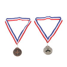 2x Metal Torch Silver Bronze Medal Prize Award Party Game Winners Kids Gift