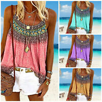 Women Summer Boho Printing Loose Vest Tank Tops Sleeveless T-Shirt Blouse Casual