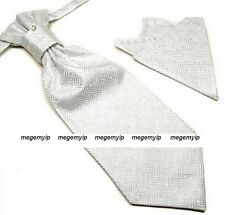 Men Tuxedo Ascot Scrunch Ruche Silver Check Cravat PreTie Tie + Handkerchief Set