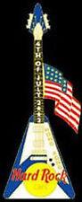 """Hard Rock Cafe HONG KONG 2002 July 4th PIN USA Flag on Flying """"V"""" Guitar"""