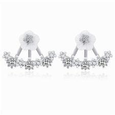 Silver White Cz Rhinestones White Daisy Flower Drop Studs women girl earrings