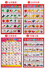 Baby Child Education Preschool Chinese Learning Wall Chart Poster 10pcs Chi-Eng