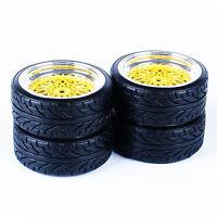 Wheel Rims RC Flat Drift Tires Gold 3mm offset For HSP HPI 1:10 On-Road Car