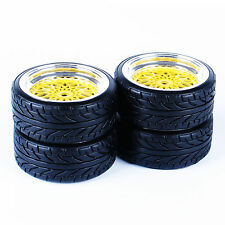 Wheel Rims RC Flat Drift Tires Gold 3mm offset For HSP HPI 1:10 On-Road Car