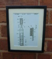 USA Patent Drawing BATHROOM TOOTHBRUSH Toothpaste MOUNTED PRINT 1999 Xmas Gift