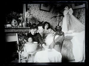 Frankreich Le Bain Des Baby c1900 Foto Negative Platte De Verre Vintage VR18L5n4