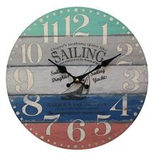 Retro Vintage Sailing Yacht Design 34CM Round Shabby Chic Wall Clock.New