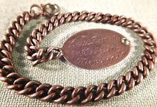 WWI ID Tag Bracelet, Co K 156th Infantry, L. Renaud, Monroe LA, Sweetheart Inscr