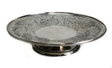 "Birks Sterling Silver 10"" Pedestal Plate Tray Compote, Floral Etched"
