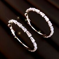 18K White Gold&Gold Filled Simulated Diamond Channel-Set Baguette Hoop Earrings