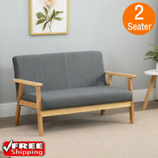 Modern 2 Seater Sofa Armchair Love Seat Fabric Linen Sofabed Wooden Frame D Grey