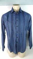 Mens Blue Pronto Uomo Long Sleeve Button Front Shirt Geometric Navy Sz Large L
